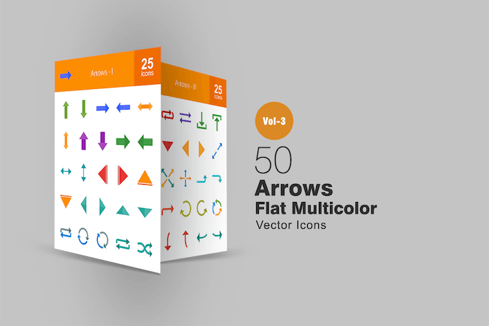 Cover Image For 50 Arrows Flat Multicolor Icons