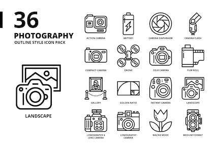 Photography Outline Style Icon Set