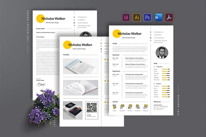 Thumbnail for Minimalist Resume/CV Template AN
