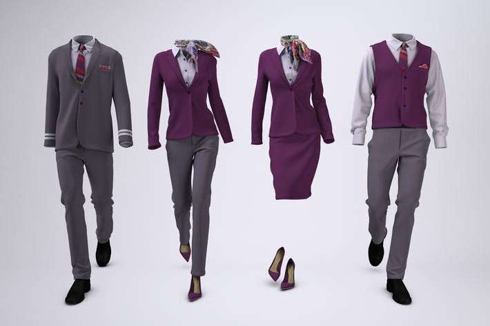 Thumbnail for Airline Cabin Crew or Hotel Uniforms Mock-Up