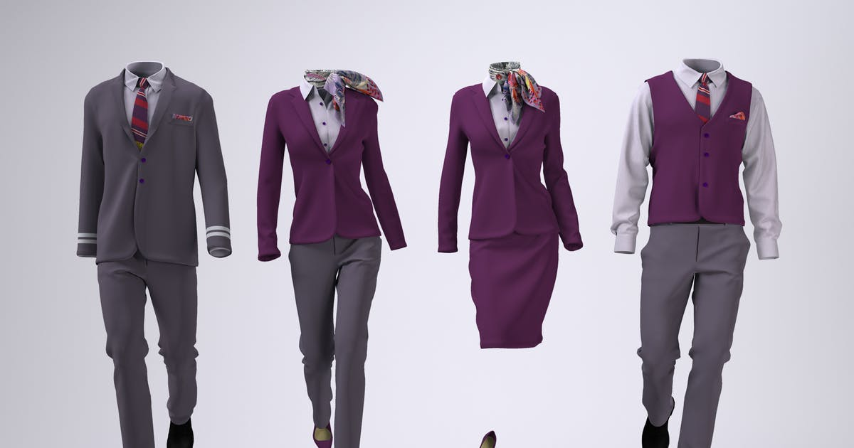 Download Airline Cabin Crew or Hotel Uniforms Mock-Up by Sanchi477