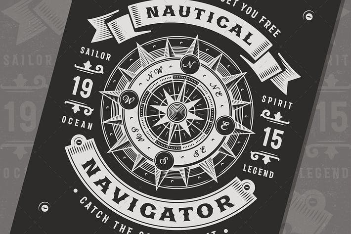 Thumbnail for Vintage Nautical Navigator Tipografía