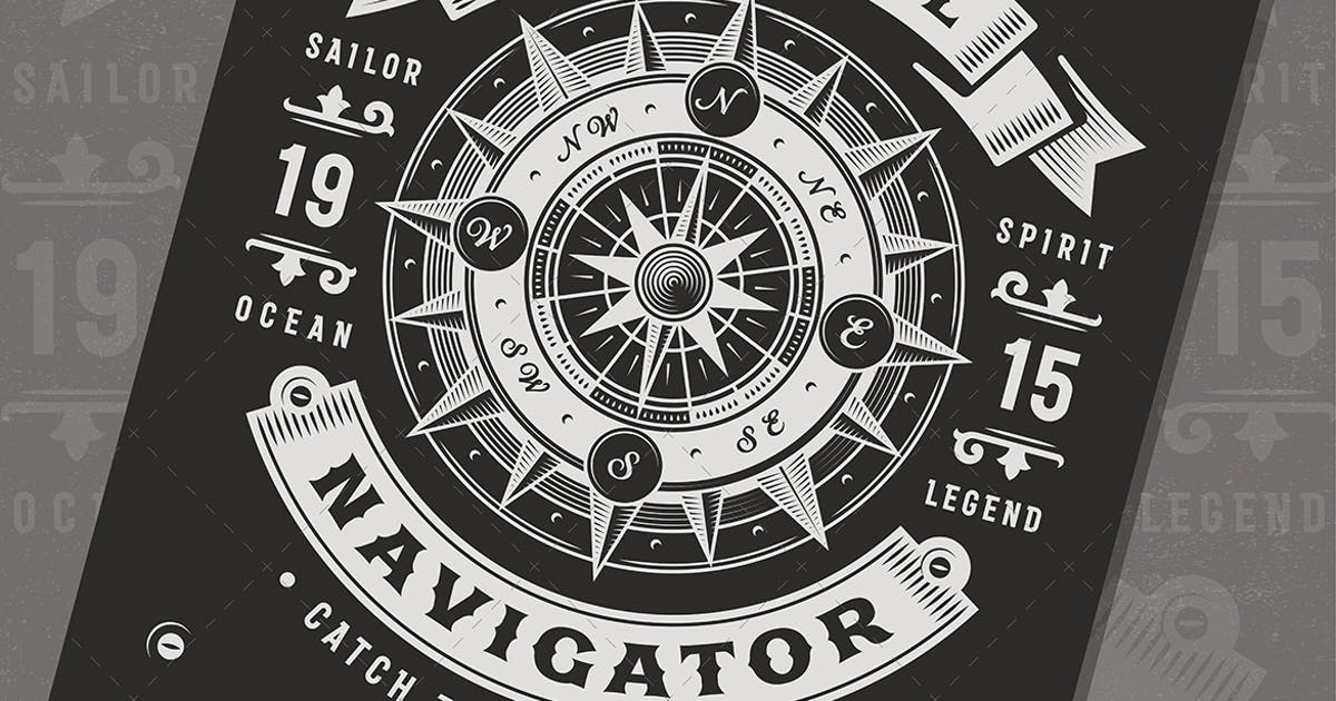 Download Vintage Nautical Navigator Typography by iatsun