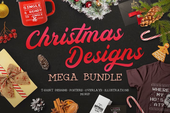 Thumbnail for Christmas Designs Mega Bundle, Retro Xmas Designs