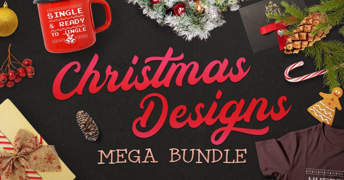 Download Christmas Designs Mega Bundle, Retro Xmas Designs by JeksonJS
