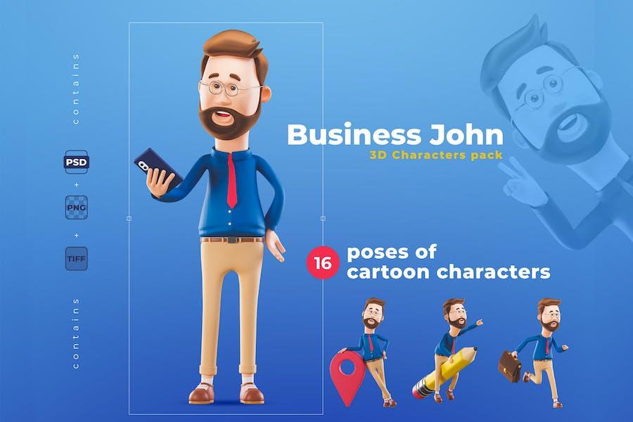 Набор 3D бизнес-персонажей