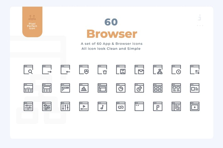 Thumbnail for 60 App and Browser Icons - Material Icon