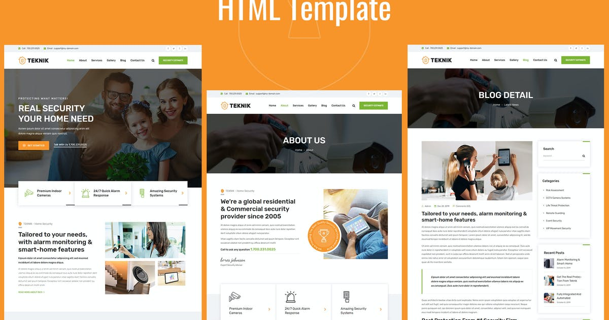 Download Teknik - Security Services HTML Template by Templatation