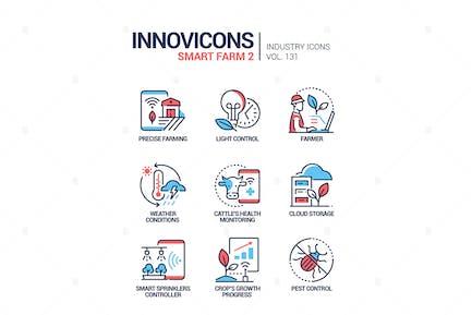 Smart Farm - bunte Linie Design Stil Icons