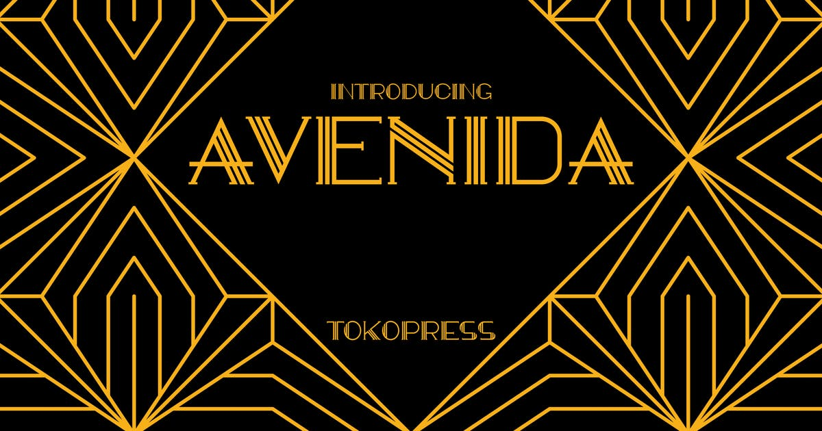 Download AVENIDA - art deco font by tokopress