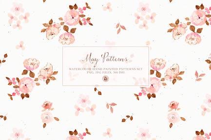 May Patterns - watercolor patterns set