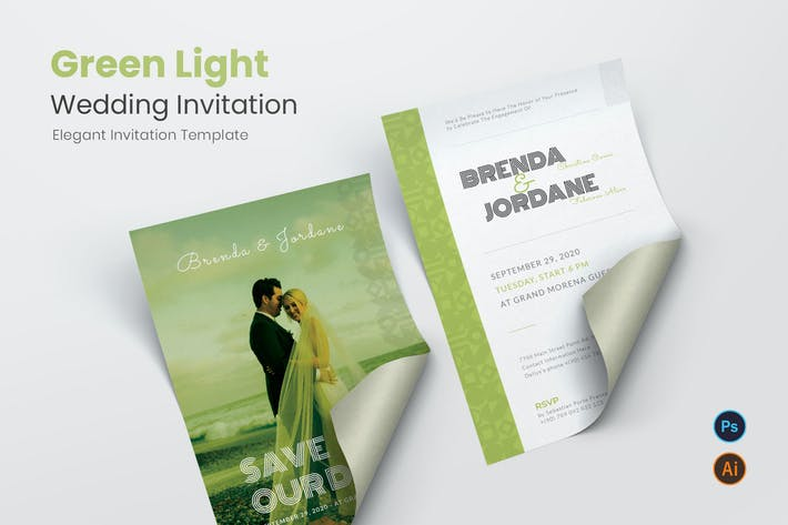Thumbnail for Green Light Wedding Invitation