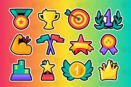 Sport Win Awards And Champion Symbols Set