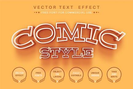 Comic line - editable text effect, font style