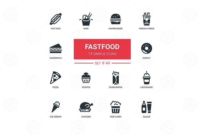 Thumbnail for Fastfood concept - line design icons set