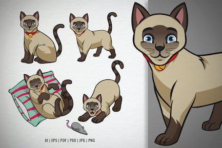 Set of Cartoon Siamese Cat vector