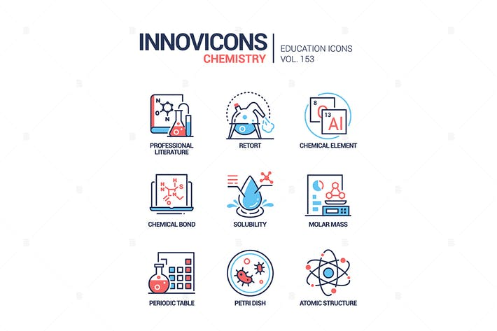 Thumbnail for Chemistry - modern line design style icons set