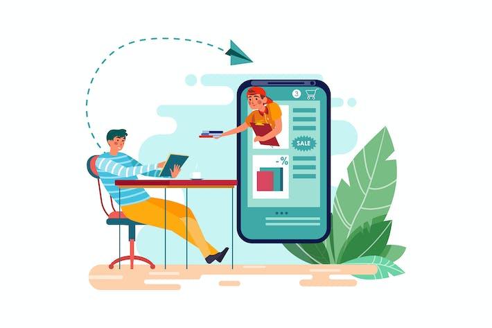 Thumbnail for Un livre de commande homme dans une boutique mobile en ligne mobile