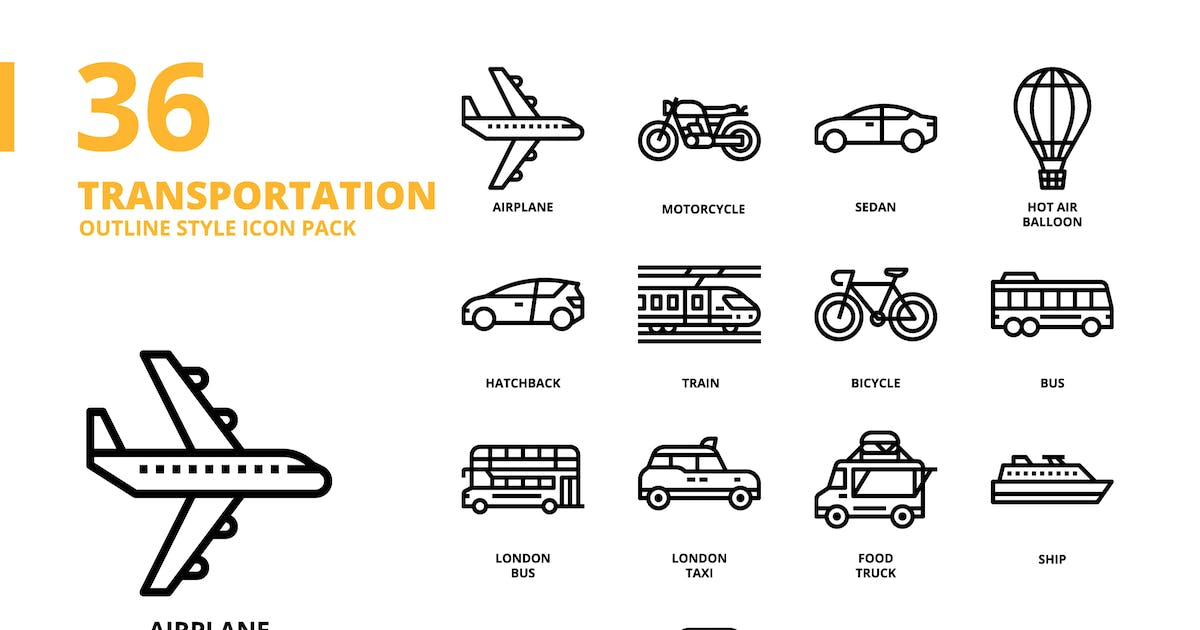 Download Transportation Outline Style Icon Set by monkik