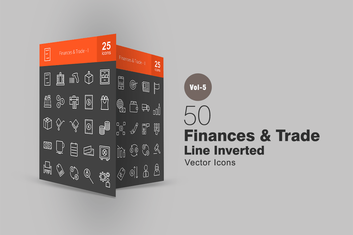 50 Finanzen & Trade Line Inverted Icons