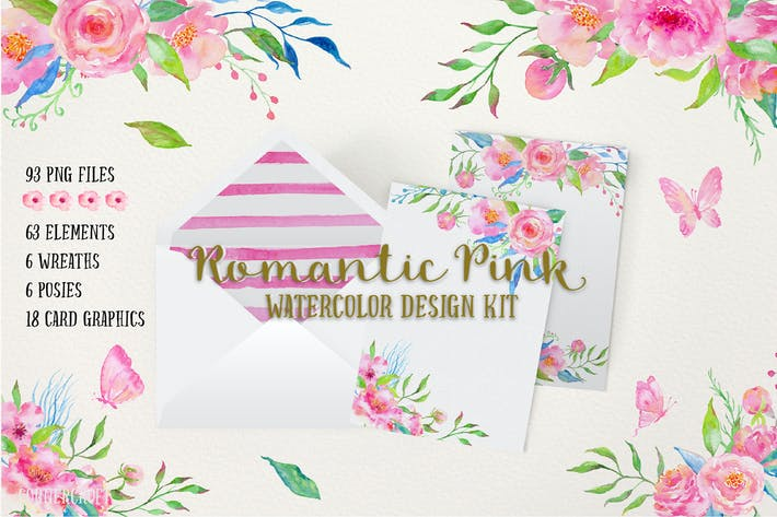 Cover Image For Watercolor Design Kit Romantic Pink