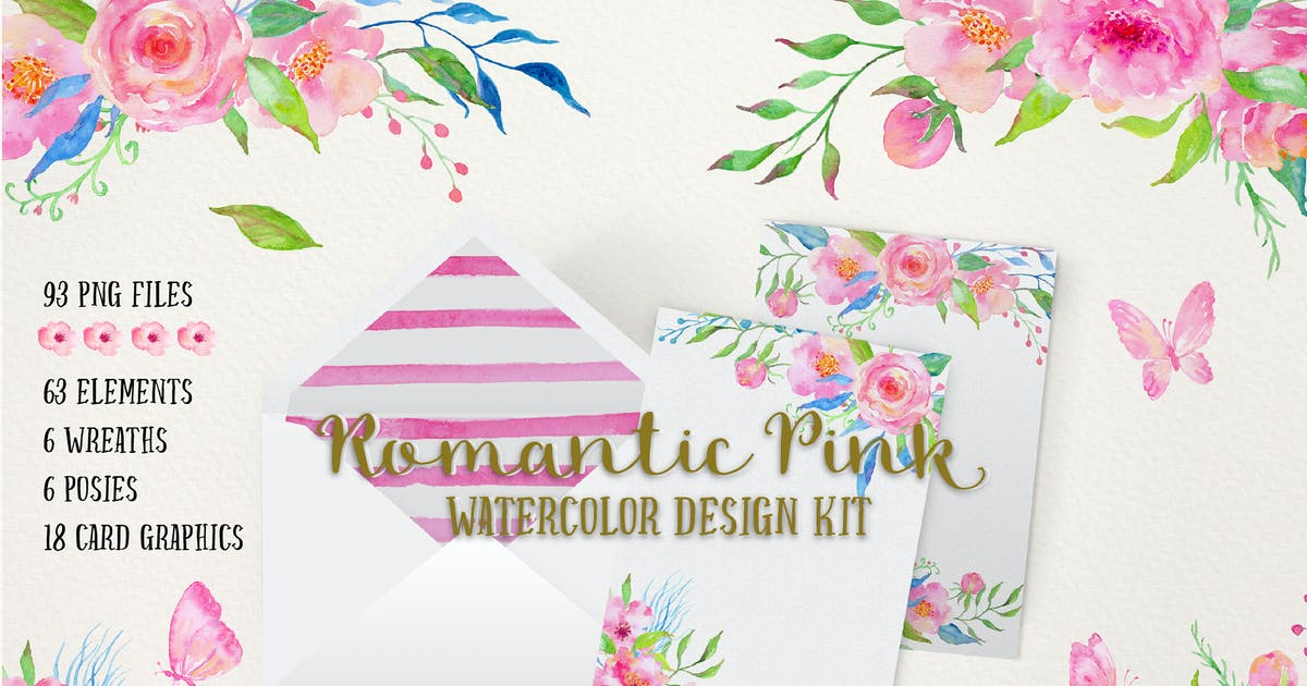 Watercolor Design Kit Romantic Pink by Unknow