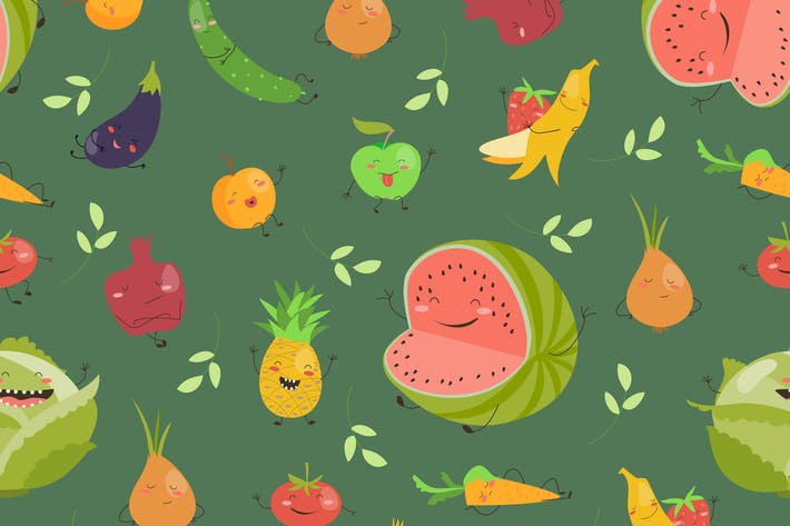 Thumbnail for Seamless background with fruits and vegetables