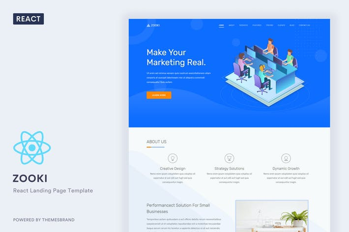Thumbnail for Zooki - ReactJs Landing Page Template