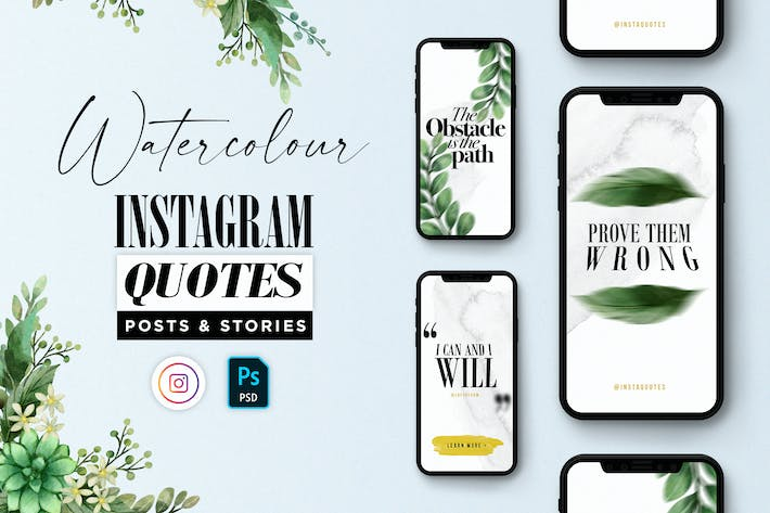 Thumbnail for Classy Watercolor Instagram Quotes Posts & Stories