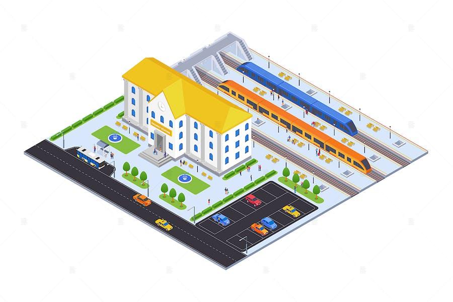 Railway Station - Isometric Illustration