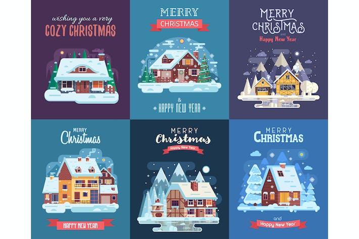 Thumbnail for Winter Cozy Houses Christmas Cards