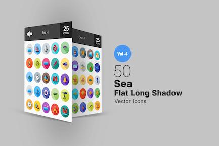 50 Sea Flat Shadowed Icons