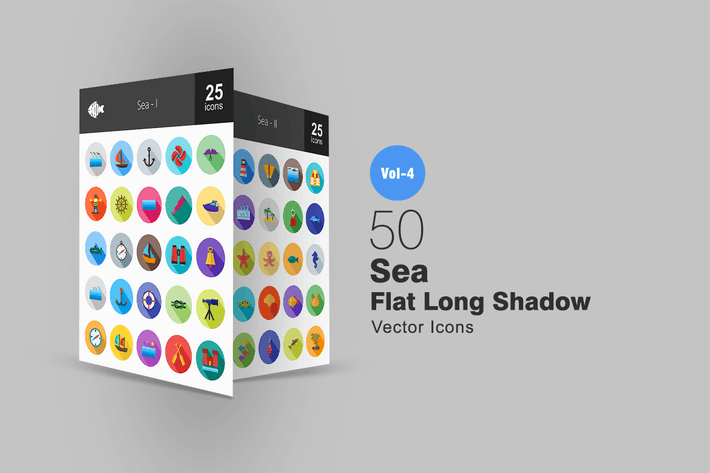 Thumbnail for 50 Sea Flat Shadowed Icons