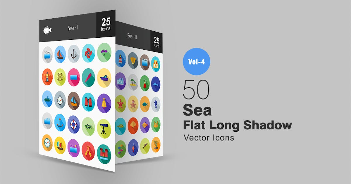 Download 50 Sea Flat Shadowed Icons by IconBunny