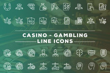 Casino and Gambling Line Icons