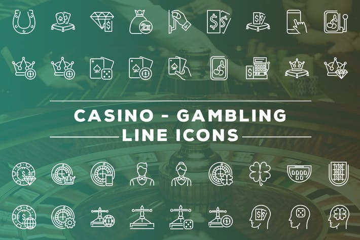 Cover Image For Casino and Gambling Line Icons