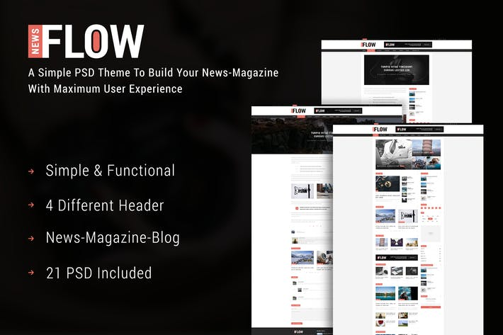 Thumbnail for FlowNews - News and Magazine PSD Template