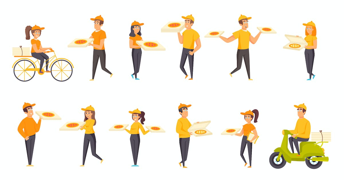 Download Pizza Delivery Peopel Character Situation by alexdndz