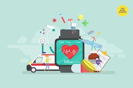 Smartwatch Heart Beat Monitoring App Vector