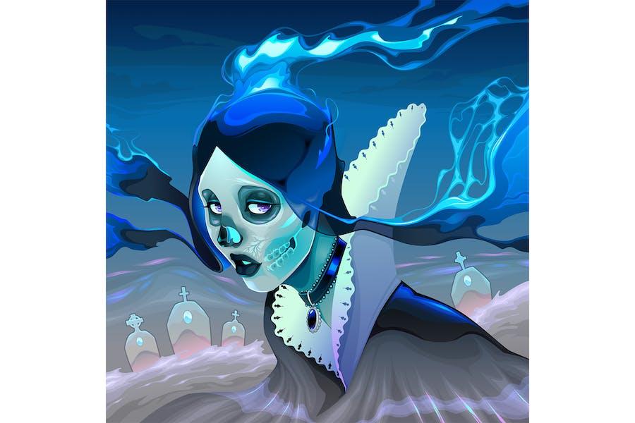 Портрет Ghost девушка на кладбище