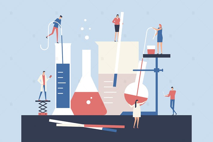 Cover Image For Scientists - flat design style illustration
