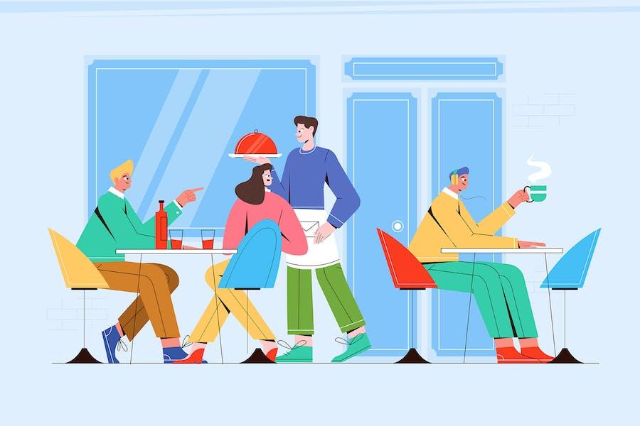 Coffee Shop - Vector Illustration