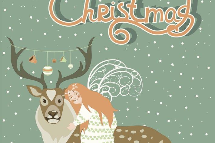 Thumbnail for Cute angel hugs reindeer