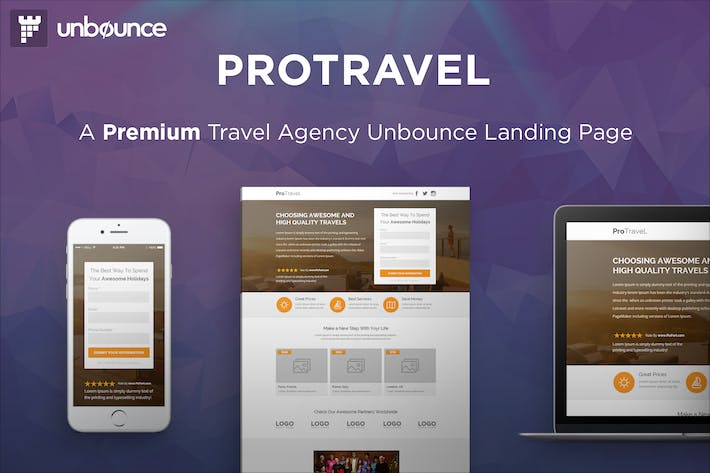 Thumbnail for ProTravel - Travel Agency Unbounce Template