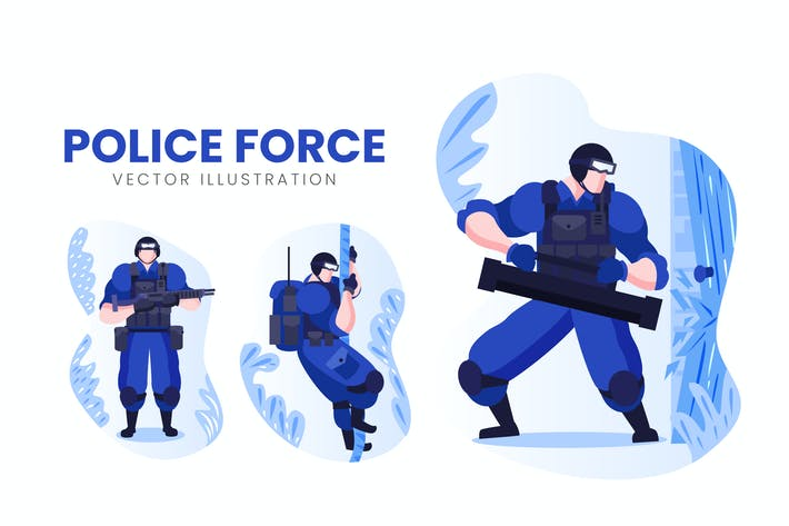 Thumbnail for Police Force Vector Character Set