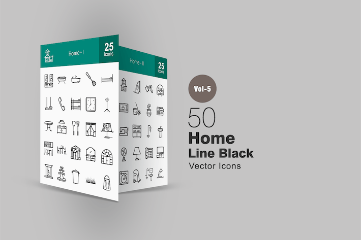 Thumbnail for 50 Home Line Icons