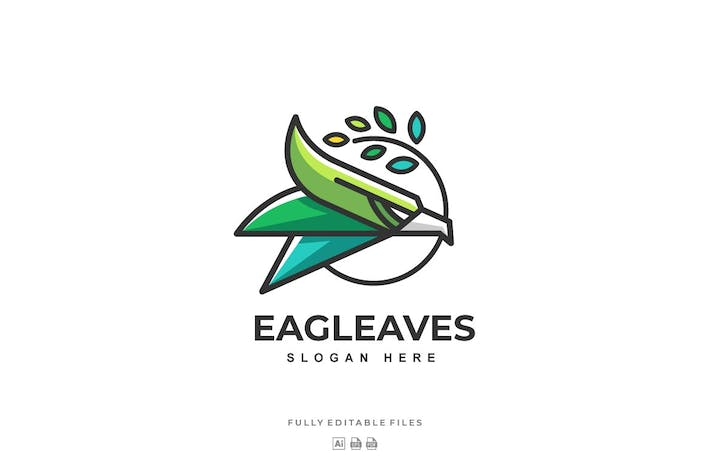Cover Image For Simple Eagle with leaves Color Logo template