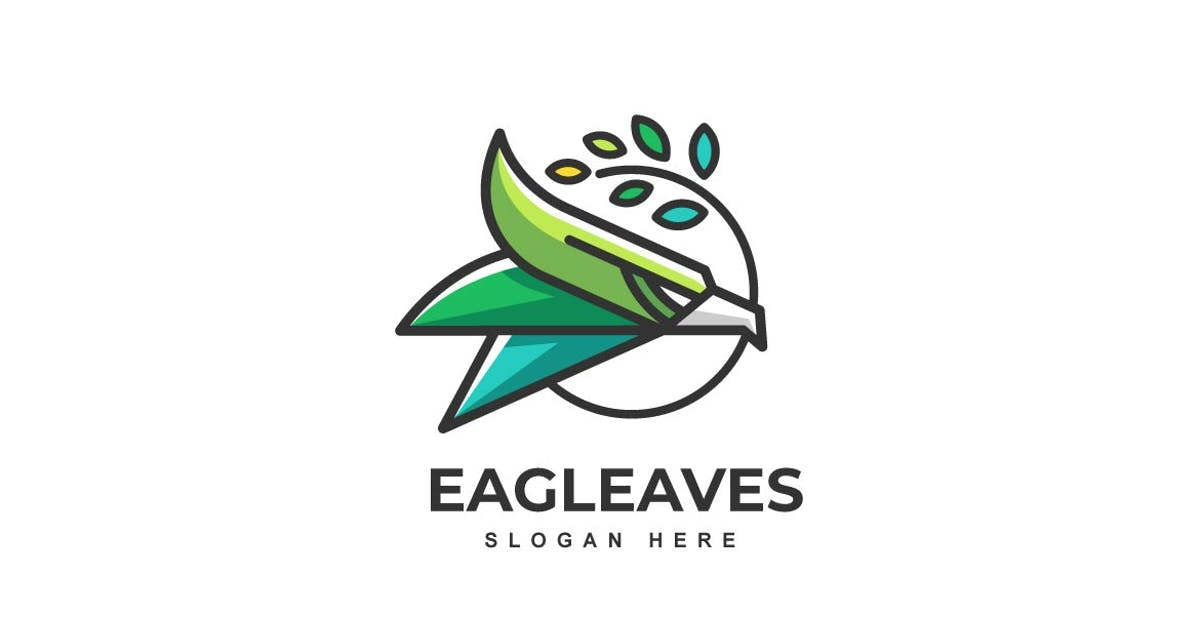 Download Simple Eagle with leaves Color Logo template by ivan_artnivora