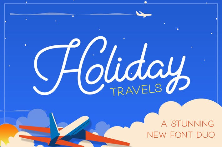 Thumbnail for Holiday Travel Font Duo