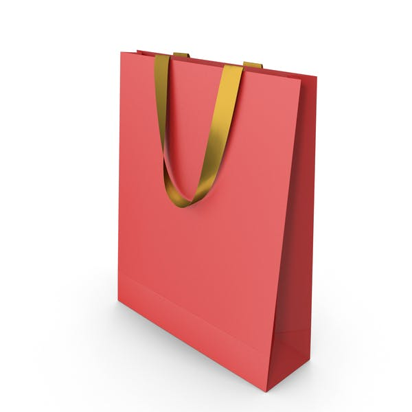 Red Paper Bag with Gold Handles